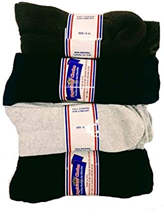 Lot of 12 Size 13-15 Diabetic Crew Loose Fit Top Socks Health Cotton Mens White