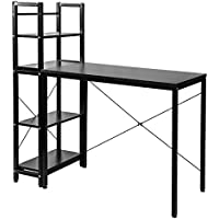 ModernLuxe Two-in-one Computer Desk Compact Desk with 4-Tier Shelves (Black)