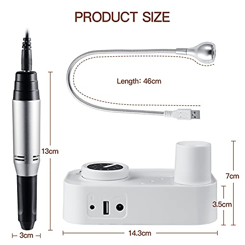 Professional Nail Drill 30000RPM, Manicure Grinder Tools for Acrylic Gel Nails, Electric Manicure Pedicure Kit, with 6 Drill Bits,Two box Sanding Strips and a LED lamp