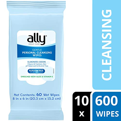 - Ally Personal Cleansing Wipes, Rinse-Free with Aloe and Vitamin E, 600 Wipes (10 Packs of 60 Wipes)