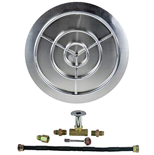 """Dreffco (The Original 36"""" NG Stainless Steel Burner Pan with Stainless Steel Ring Fire Pit Kit"""