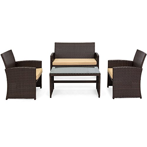Best Choice Products 4-Piece Wicker Patio Furniture Set w/Tempered Glass, 3 Sofas, Table, Cushioned Seats - Brown