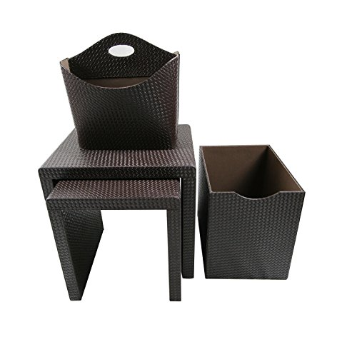 Instant Mosaic 50103 Dark Brown Leatherette Side Tables and Storage Accessories (Set of 4) by Instant Mosaic