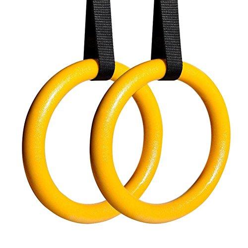 JATCH Anneaux de gymnastique ABS et bagues olympiques en bois avec sangles de boucle Anneaux de gymnastique en bois pour la musculation Pull Ups et trempettes pour hommes et femmes