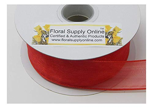 #9 Wired Edge Sheer Organza Ribbon for Floral, Fashion, Craft, Scrapbooking, Gift Wrapping, Hair Bows, Wedding, Baby Shower, and Decorating Projects. (1-1/2 Inch x 25 Yard, Red)