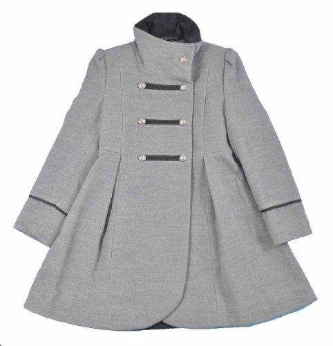 Rothschild Big Girls Gray Military Style Wool Coat (16) -