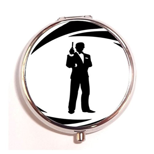 - 007 JAMES BOND Custom Diy stainless steel Round Pill Box Case Medicine Tablet HolderDurable Gift