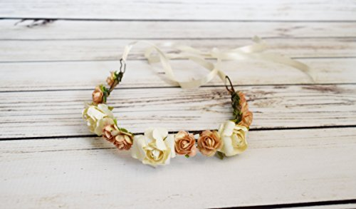 Handcrafted Peach and Ivory Flower Crown - Wedding Hair Accessory - Flower Girl Halo - Woodland Flower Crown - Adult Flower Crown - Roses