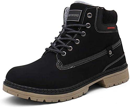 JIANKE Chaussures de Randonnée Homme Hiver Chaudes Fourrure Antidérapant Bottes de Marche Neige