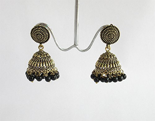 - Gold Tribal Bollywood Antique jhumka With Black Beads/Indian jhumka/jhumka earrings/Statement drop jhumkas/Jaipur jhumkas/Black jhumka earrings