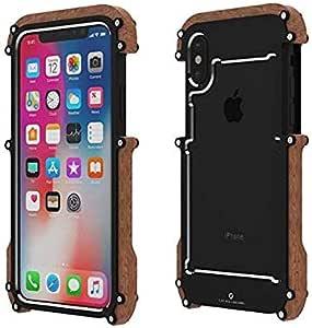 جراب لهاتف iPhone xs Max ذو إطار معدني للخشب، حماية من السقوط، جراب واقي من الصدمات والسقوط