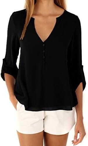 Happy Sailed Women 2016 Casual Chiffon Button V Neck Blouses Shirts S-XXL