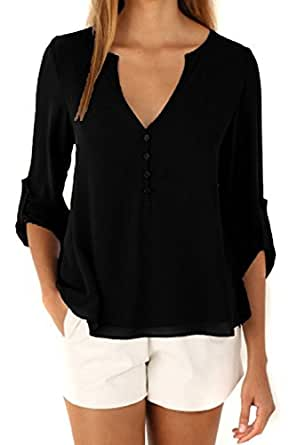 Happy Sailed Women 2016 New Casual Chiffon Button V Neck Blouses Shirts, Small Black