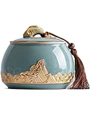 XSWZAQ Mini Ceramic Urn Small Cremation Urns For Human Ashes Pet Funeral Casket Miniature Memorial Funeral Urns Sharing Ashes (Color : B)