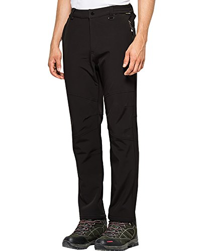 (Toomett Men's Fleece Lined Soft Shell Pants Insulated Water and Wind Resistant,M5022 Black US 36)