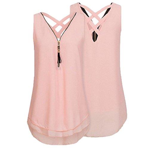 Ärmellos Bluse T zurück Elegant Tank Unregelmäßigkeit Rosa Ausschnitt Weste aushöhlen Tops Hemdbluse Chiffon Damen Shirt Reißverschluss Unterhemd Sommer Frauen V Rovinci Vorne xqt7wAE8g