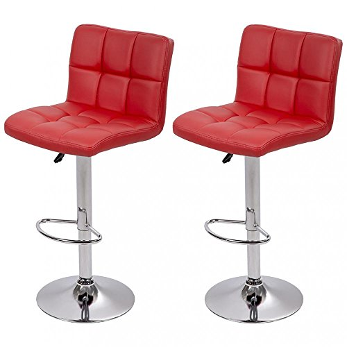 PU Leather Adjustable Bar Stool Counter Height Chair w/ Backrest, Set of (Leather Backrest)
