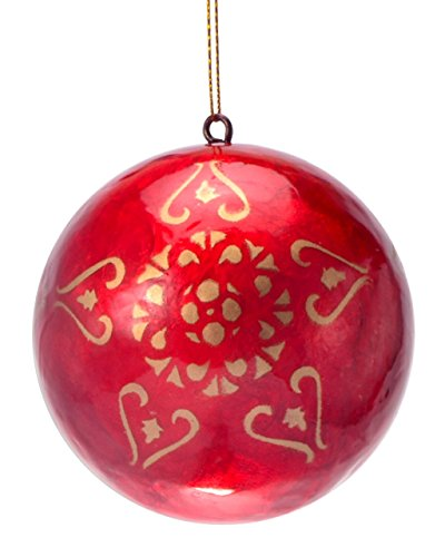 eve + belle Christmas Lantern Repurposed Capiz Christmas Ornaments (Gold & Red, - Lantern Capiz Christmas
