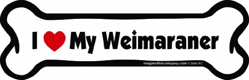 Imagine This Bone Car Magnet, I Love My Weimaraner, 2-Inch by 7-Inch
