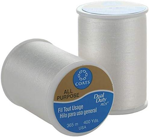 Coats 96921 Dual Duty All-Purpose Thread 400yd-12//Pk-White White 12 Pack