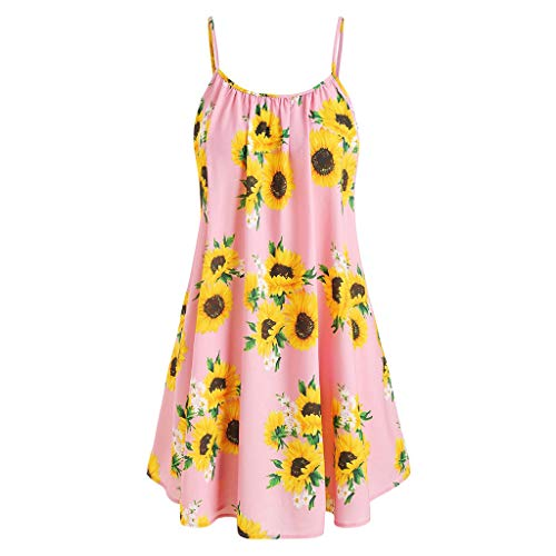 Women Sunflower Dresses 2 Set Dress Suits Spaghetti Strap Tank Dress with Short Sleeve Front Knot V Neck Top by Lowprofile ()
