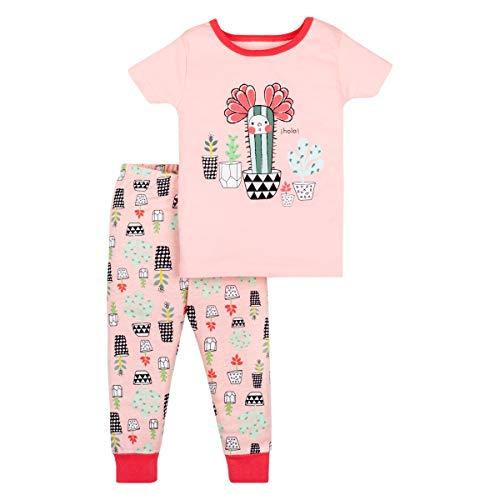 LAMAZE Organic Baby Girls' Toddler 2 Piece Sleepwear, Pink Cactus, 9-12M