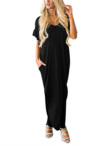 HOTAPEI Womens Casual Summer Ruffle Sleeve V Neck Pockets Jersey Dresses T-Shirt Long Boho Maxi Dress with Slits Black Large