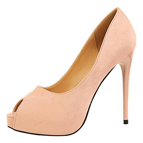 T&Mates Womens Comfort Sexy Peep-Toe Suede Slip-on Low Cut Platform Stiletto High Heel Pumps Shoes (7.5 B(M) US,Pink)