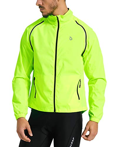 Baleaf Men's Cycling Jacket Vest Windproof Water-Resistant Coat Breathable Outdoor Sportswear Fluorescent Yellow Size M