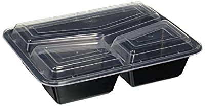 Green Direct 3 Compartment Container/Microwave Safe Food Containers with Lids /Divided Plate/bento Box/lunch Tray with Cover, Use for 21 Day Fix, Meal Prep and Portion Control, Black Bottom with Clear Cover