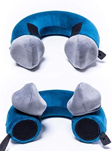 Pieceful Pillow 3-Piece Memory Foam Travel Neck Pillow Includes 2 Soft Detachable Mini Pillows