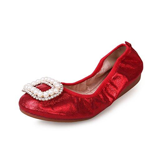 Balamasa Bead In Pelle Con Diamanti A Punta Rotonda In Pelle Imitato Pumps-shoes Rosso
