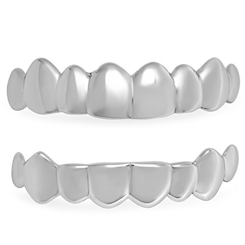 The Bling Factory .925 Solid Sterling Silver Removable Top & Bottom Teeth Grillz Set + Microfiber Jewelry Polishing Cloth - Sterling Silver Grillz