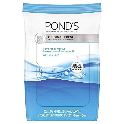 (Pond's Wet Cleansing Towelettes with Vitamin E, Original Fresh, 5 Towelettes each (Pack of 3))