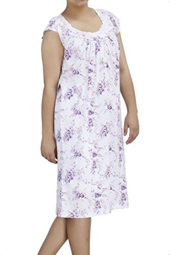 Ezi Women's Nightgowns9 Cotton Short Sleeve Lingerie Nightgown,Lavender,1X