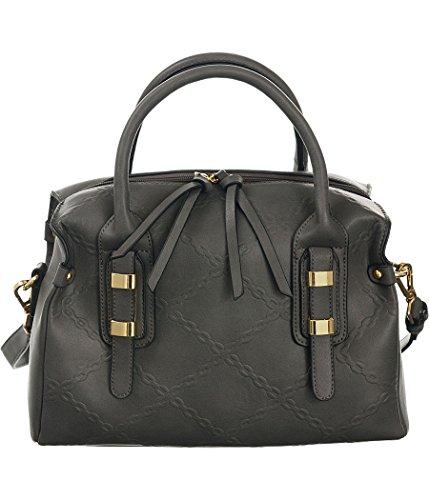 - Chain-Links Dark-Grey Shoulder-Convertible Extra-Wide Satchel Bag