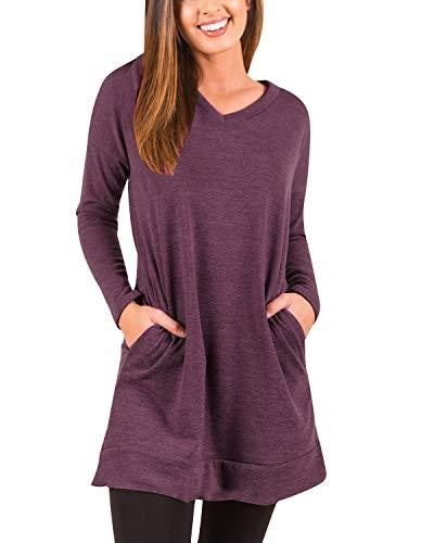 kenoce Women's Jumper Dress Long Sleeve V-Neck Tunic Sweatshirt Tops Loose Long Jumper Pullover Causal T-Shirt Dress…