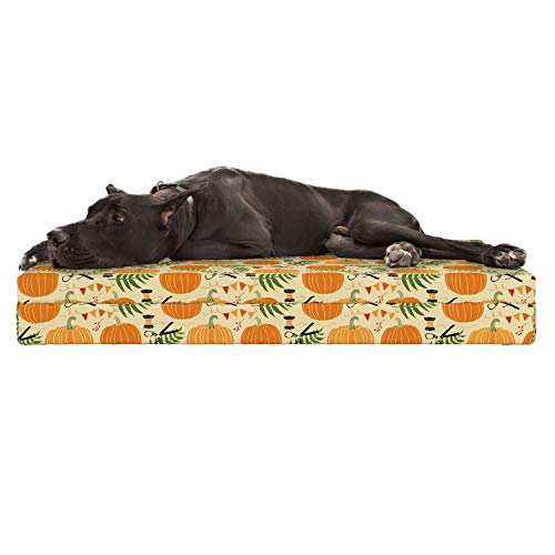 Lunarable Pumpkin Dog Bed, Hand Drawn Ornaments of Halloween Fern and Pumpkin Scissors Silhouettes, Durable Washable Mat with Decorative Fabric Cover, 48