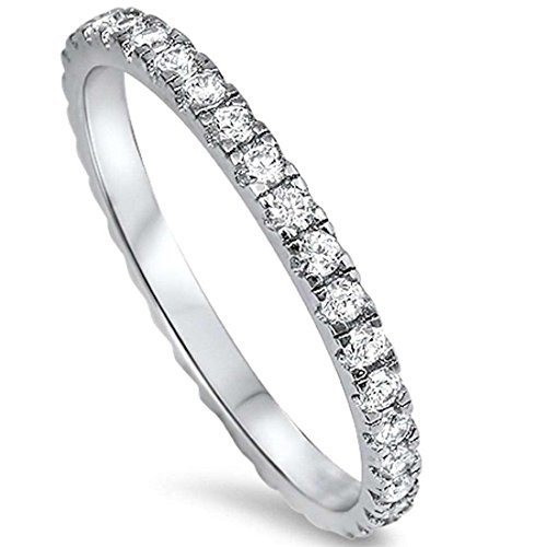 2MM Stackable Full Eternity Engagement Band Ring Round Cubic Zirconia 925 Sterling Silver