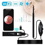 Ear Cleaning Endoscope,WiFi 3 in 1 Borescope Inspection Ear Wax Remover Tool 1.3Megapixels HD Waterproof Camera with 6 Adjustable LED,Compatible for iOS iPhone Ipad OTG Android Micro USB PC(Black)