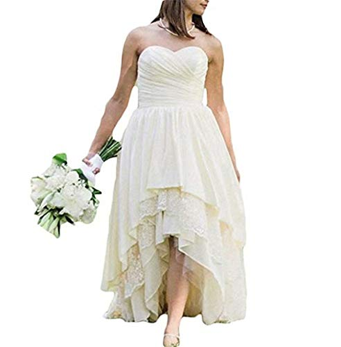 Women's High Low Sweetheart Satin Country Wedding Dress Lace Bridal Gowns Ivory 16 Plus