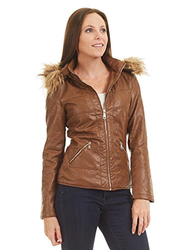 Lock-and-Love-LL-Womens-Hodded-Fur-Line-Faux-Leather-Jacket