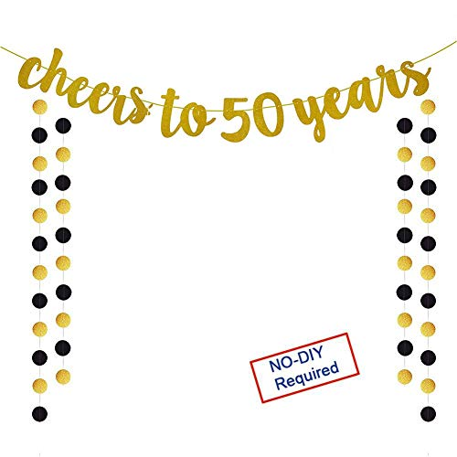 (Glittery Gold Cheers to 50 Years Banner for 50th Birthday Wedding Anniversary Party Decoration)
