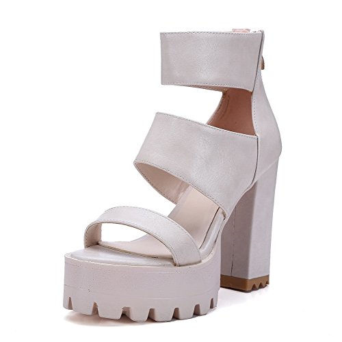 VogueZone009 Women's Soft Material Open Toe High Heels Zipper Solid Sandals Beige 1yvXbOm
