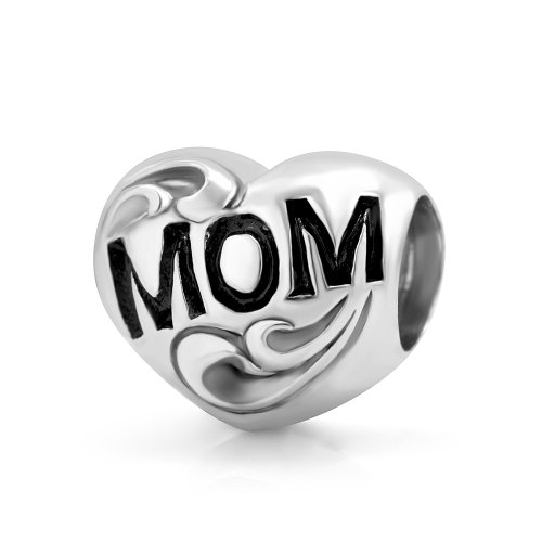 925 Sterling Silver I Love You Mom Heart Bead Charm Fit Major Brand Bracelet
