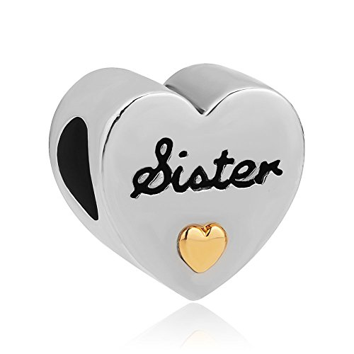 LuckyJewelry I Love You Gold Plated Heart Sister Charms Sale Cheap Beads fit Pandora Chamilia Charm Bracelet (Pandora Charm Troll Fits Chamilia)