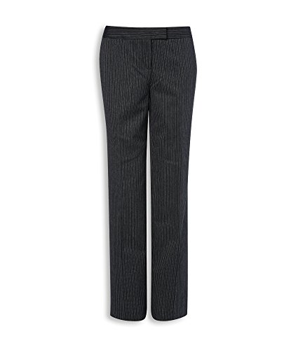 Wool Zip Fly Trousers (Alexandra Workwear Womens Morning Stripe Trousers Charcoal 10 R)