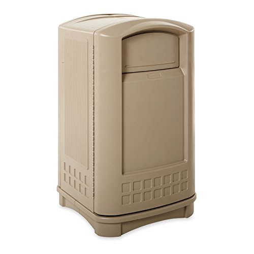 Rubbermaid Commercial Plaza Trash Can, 50 Gallon, Beige, (Plaza Receptacle)