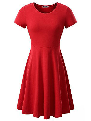 (HUHOT Women Short Sleeve Round Neck Summer Casual Flared Midi Dress Large)