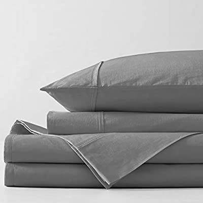 """Bellagio Organic Cotton Sheet Set - GOTS Certified - Long Staple Heirloom Percale - 4 Piece Bedding (Charcoal, Queen) - ULTIMATE ORGANIC COTTON SHEETS - Experience the luxury and durability of Bellagio hotel bed sheets & crisp pillowcases. You'll adore our breathable Queen & King Sheets. Woven with long staple organic cotton for a gorgeous weave. Our eco-friendly sheets retain softness for a lifetime and resist fading. Its the Bellagio promise. QUEEN SIZE LUXURY 4PC BED SHEETS SET - 1 Flat Sheet: 90"""" W x 102"""" L; 1 Fully Elasticized all around Fitted Sheet: 60"""" W x 80"""" L + 16"""" finished deep pocket to fit mattresses from 9"""" to 18""""; and 2 Standard Pillowcases: 21"""" W x 30"""" L. EASY HOME LAUNDRY - Free of harmful synthetic dyes for a healthier you and healthier planet. Recommended for regular wash for superior softness GOTS ORGANIC CERTIFIED - ZERO CHEMICAL. From the cotton fiber to final product. Free of harmful dyes or finishing agents. No use of synthetic pesticides on the cotton or synthetic fertilizers. Our fabric is tested for meeting performance: no pilling, shrinkage, color fastness & tear; Before being individually measured and stitched to perfection. Then it is inspected, piece by piece, to be defect free and packed as set - sheet-sets, bedroom-sheets-comforters, bedroom - 41VzQb97HAL. SS400  -"""